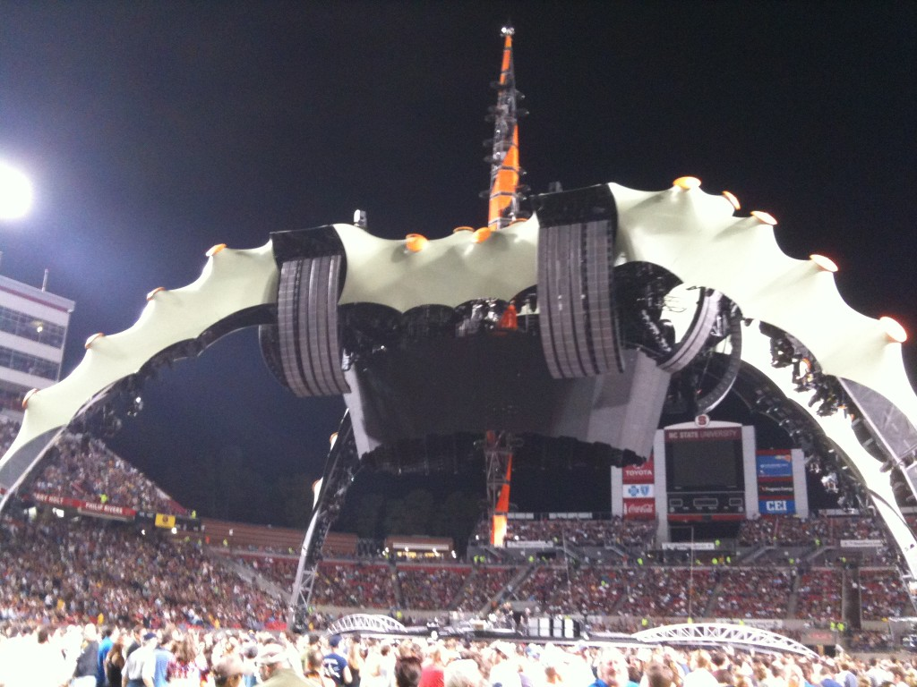 U2 stage at Carter-Finley Stadium