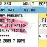 U2 Ticket, Carter-Finely Stadium, Raleigh NC Oct 3 2009