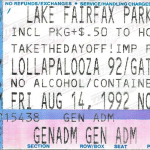 Lollapalooza 1992 Ticket stub from Reston Virginia show