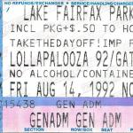 Lollapalooza 1992 Ticket stub from Reston Virginia show