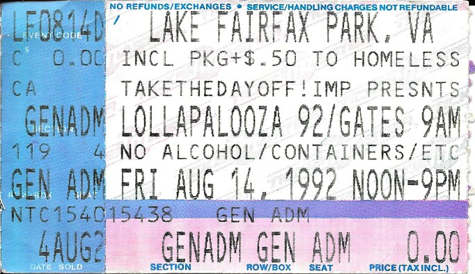 lollapalooza 1992 reston va red hot chili peppers. Black Bedroom Furniture Sets. Home Design Ideas